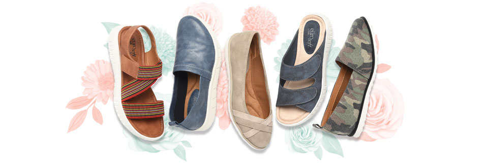 Featured flats: Clarice in luggage, Canan in blue, Rafi in stone, Corale in navy and Robyn in camo.