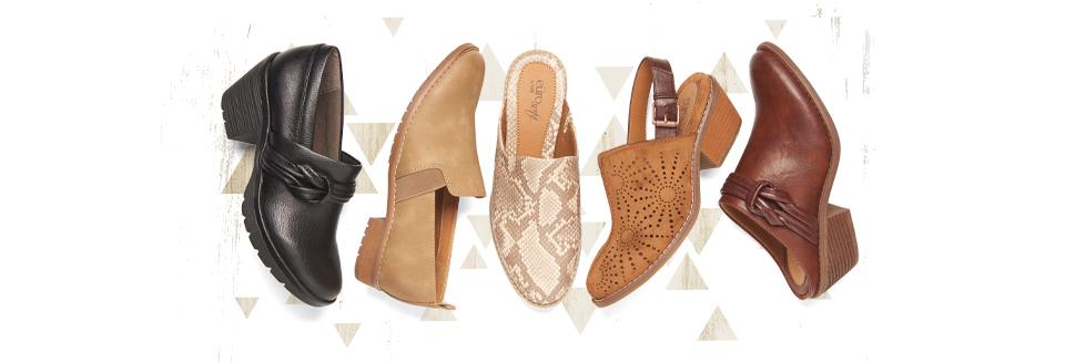 Featured styles: Tarrain black, Wayfield in tan, Winona in neutral snake, Tulip Sling in tan, and Amelia in brown.